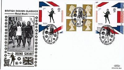 GB 2009 Design Booklet Pane Mini Skirt Benham Silk Gold FDC special cancel