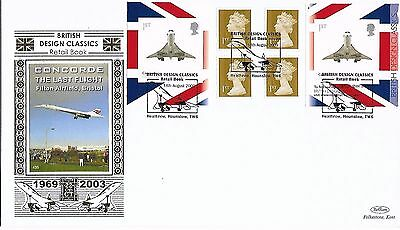 GB 2009 Design Booklet Pane Concorde Benham Silk Gold FDC special cancel