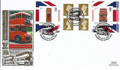 GB 2009 Design Booklet Pane London Bus Benham Silk Gold FDC special cancel