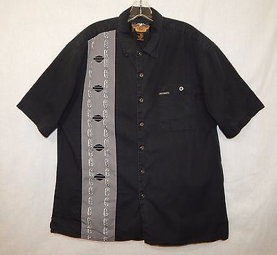 Harley-Davidson Mens Button Front Shirt Xl X-Large Logo Chain Motorcycle Camp