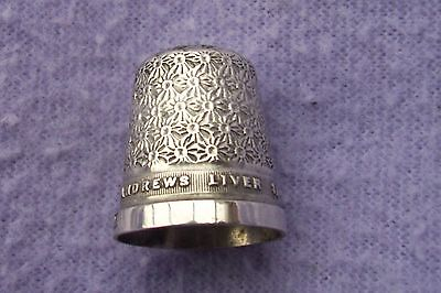 ANDREWS LIVER SALT SOLID SILVER THIMBLE - BIRMINGHAM 1927 - N.G.Co SIZE 18