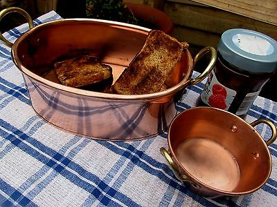 French Vintage Copper Jam Pan & Bread /toast Serving Pans Ideal For Breakfast