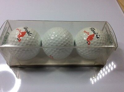 Set of 3 boxed golf balls - FLORIDA - Flamingo - Spalding 1990