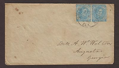Confederate: Montgomery, Alabama CSA 5c Davis Pair Cover to Augusta