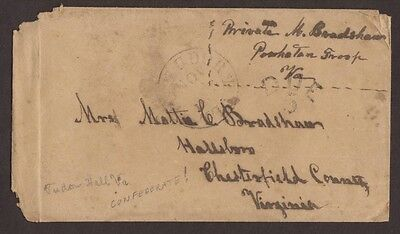 Confederate: Tudor Hall, Va 1860s Cover, Private Bradshaw, Powhatan Troop, Due 5
