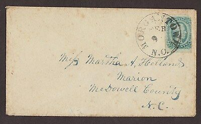 Confederate: Morgantown, NC CSA 10c Davis Cover, 10c Rate to Marion