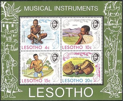 Lesotho 19754 Music/Musical Instruments/Musicians/Stringed/Drums/Pipes m/s b566b