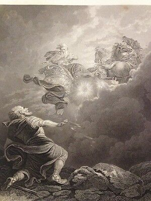 1850s Bible Engraving - Translation Of Elijah - Loutherbourgh - Engr' W & F Holl
