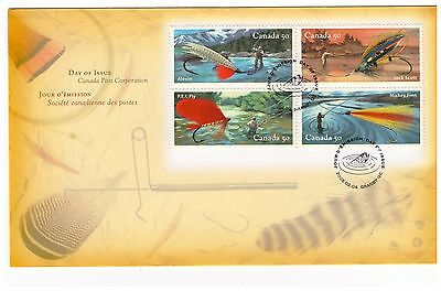 Canada 2005 Fishing Flies Block Of 4 On Official First Day Cover Granby