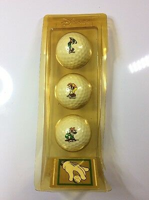 Set of 3 DISNEY themed gold balls c.1990 - Acushnet - GOOFY