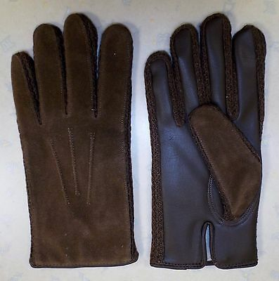 VINTAGE 1970's UNWORN MEN'S TELSALDA FAUX SUEDE DRIVING GLOVES BROWN MEDIUM