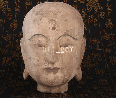 Wood Carving Buddhist Painting Exorcism Temple Consecrate Buddha Statue Vintage
