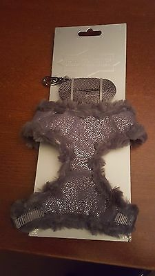 Pets At Home Soft Fluffy Grey/silver Luxury Lead & Harness Brand New L@@k!!!