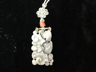 """Antique Chinese Qing green jade Pendant fruit bats 1.5"""" silk cord FINE QUALITY"""