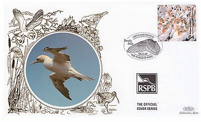 GREAT BRITAIN 2000 64p GANNETS RSPB OFFICIAL BENHAM SILK FIRST DAY COVER SANDY