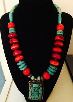 Tribal Turquoise Inlay Red Coral Colored Artisan Necklace Handmade Nepal