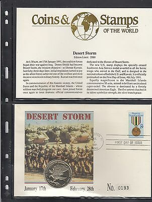 Coins Stamps Of The World, Desert Storm, $5 Coin First Day Cover, Ed Limit 2000