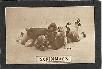 """Colonial art Co's.""""Scrimmage"""" 1910 - Football antique postcard"""