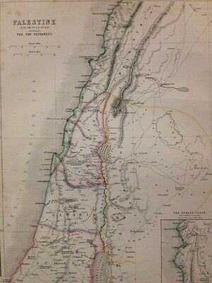 c1850s Map Engraving - Palestine, Illustrating The New Testament By W. Hughes