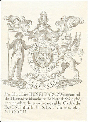 1803 engraving Coat of arms of vice-admiral Henry Harvey