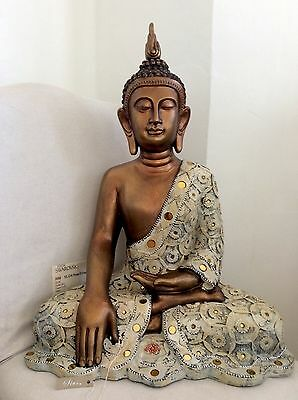 Very Large Beautifully Detailed Thai Buddhas Statue Adorned In COPPER Swarovskis
