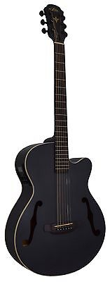 New Aria Fet-F1 Black Acoustic Electric Guitar With Gig Bag - Flamed Nato Body