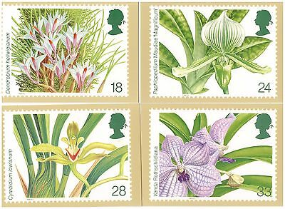 Great Britain 1993 World Orchid Conference Set Of 5 Mint Phq Cards Flowers