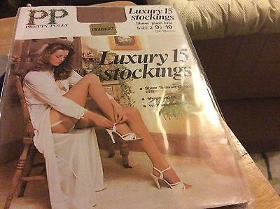 PP PRETTY POLLY LUXURY 15 - Size 2-- 9/10 HIGHLIGHT VINTAGE NYLONS STOCKINGS