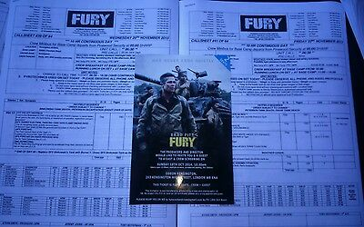FURY BRAD PITT original film studio call sheet film prop CAST & CREW TICKET