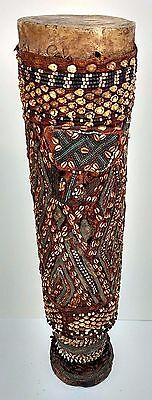 Large 40inch Tall Vintage Shell Decorated Drum African Tribal Art