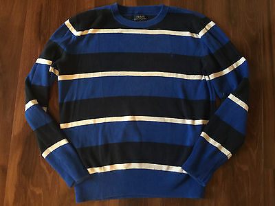 boys RALPH LAUREN SWEATER striped blue white shirt L/S polo logo LARGE 14-16