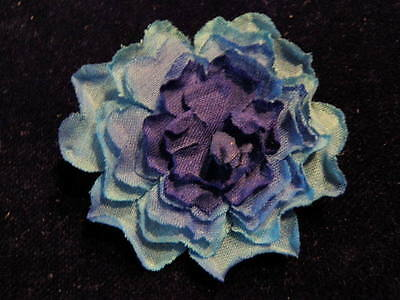 "Vintage Millinery Flower 2"" Blue 2Tone Multi-layered Hat Wedding or Hair ST"
