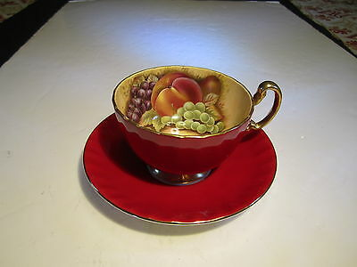 Vibrant VTG Aynsley Fruit Interior Red & Gold Exterior Cup With Saucer Set