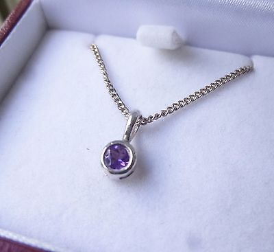 Amethyst Sterling Silver 925 Necklace Chain Boxed Amethyst Pendant
