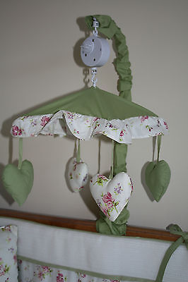 NEW baby musical cot/cotbed mobile toy,green with pink flowers (nursery hearts)