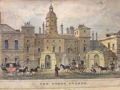 Antique Hand Coloured Engraving - The Horse Guards, London - Mounted on Card