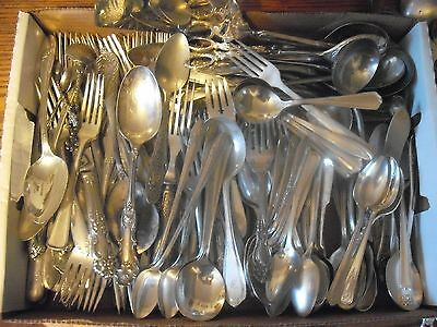 150 Pc Mixed Lot Silverplate/Antique Flatware/Serving   #99