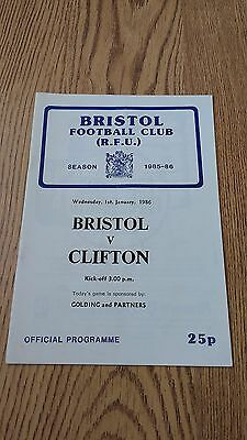 Bristol v Clifton Jan 1986 Rugby Union Programme