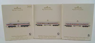 Hallmark Lionel Ornaments Freedom Train Sleeper Locomotive Observation Car Set