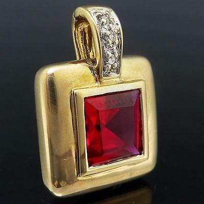 Square RUBY & DIAMOND 9ct Solid Yellow Gold Pearl Enhancer PENDANT / SLIDE