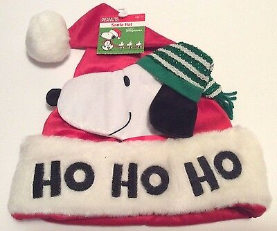 Peanuts Snoopy Christmas Santa Hat Red With Snoopy Face Unique New!!!
