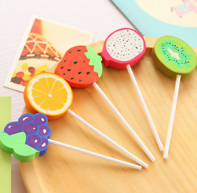Creative Fruits Lollipop Eraser Rubber Pencil Stationery Cute Gift 1pc ☆