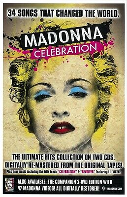 MADONNA CELEBRATION promo poster : 11 x 17 inches MADONNA poster