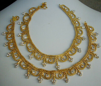 Indian BellyDance Jewelry Anklet Set GoldPlated wedding Cz Chain Payal 2Pc bcx20