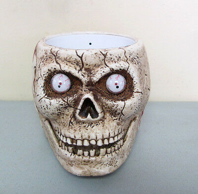 Scary Skull Shaking Animated Halloween Candy Bowl w/ Sound & Lighted Eyes