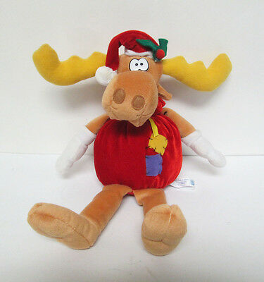 "Rocky & Bullwinkle Christmas Sack Moose 14"" Plush Doll Toy Network"