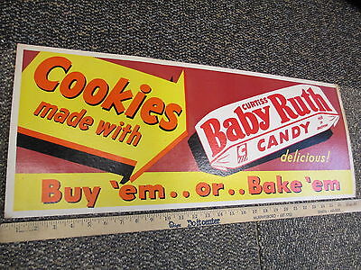 BABY RUTH candy bar 1940s store display trolley bus sign cookies chocolate