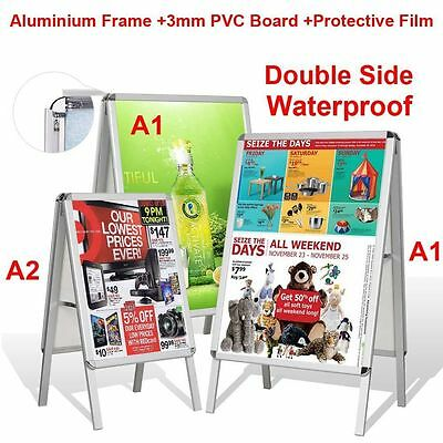 A1-Board Double Side Aluminium Pavement Sign, Snap Frame Poster Display Stand UK