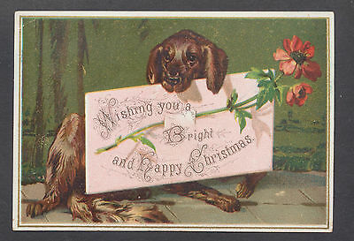 C332 Victorian Xmas Card: Dog with Flower & Note