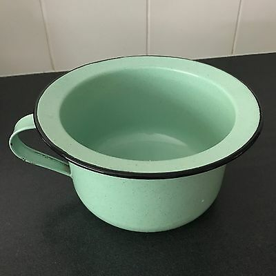 Old GREEN Enamel CHAMBER Pot Excellent Condition